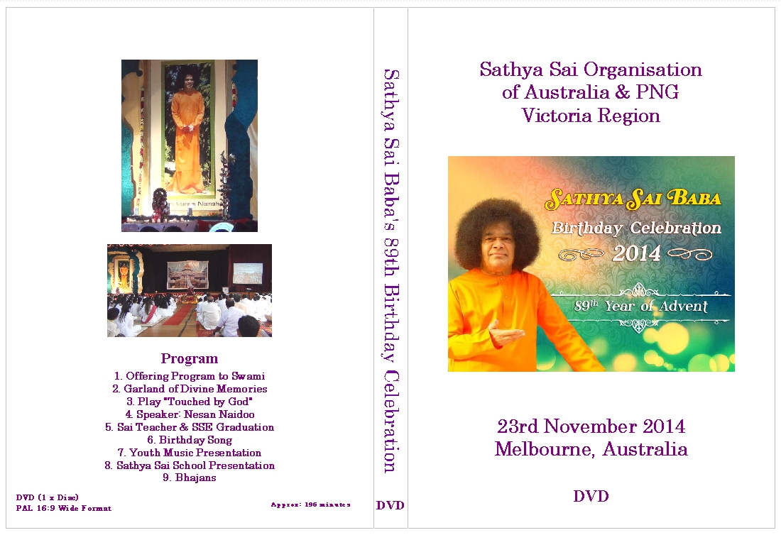 SAI BABA'S 89TH BIRTHDAY CELEBRATIONS DVD COVER