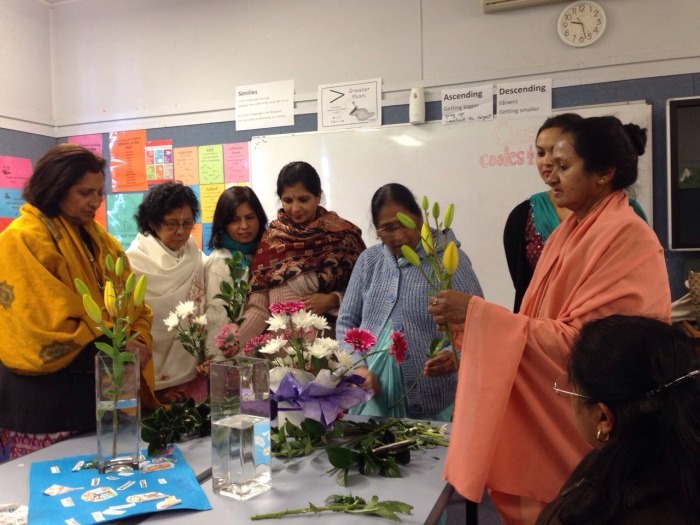 Sai Ladies in Service - Making Bouquets for Palliative care