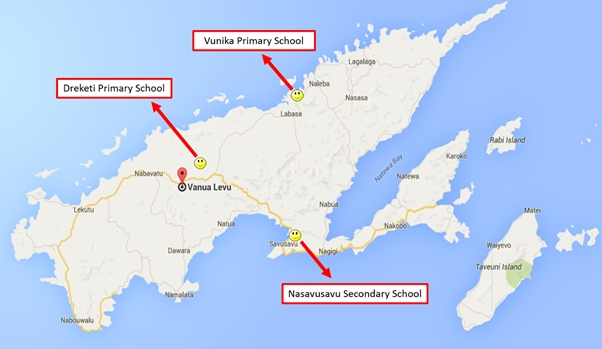 Locations visited by the Sai Medical Team on Vanua Levu, Fiji