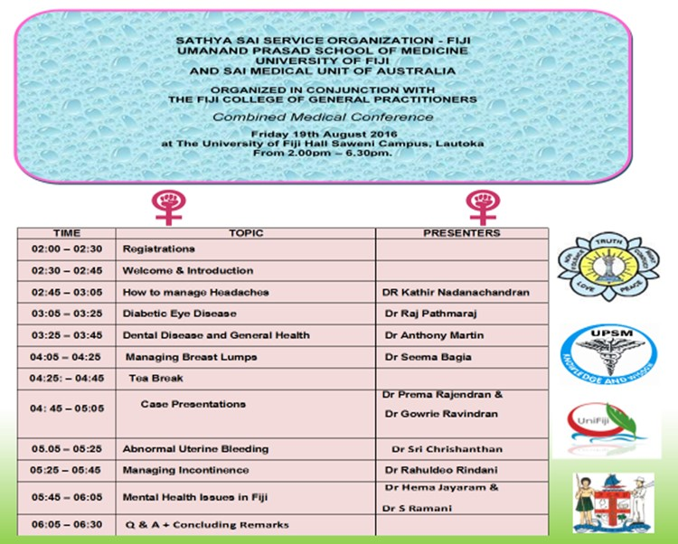 Programme of Conference at the UPSM (Medical School)